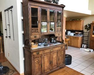 elaborate antique hutch... high quality
