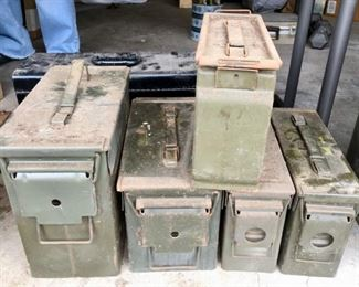 Ammo boxes, ammo containers, various sizes, various ages