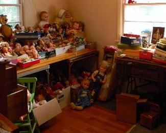 dolls upstairs and down, sewing machines, buttons, gadgets