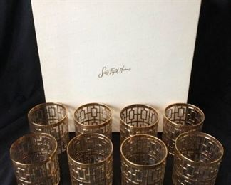 Vintage Old Fashioned Glasses with Gold Design https://ctbids.com/#!/description/share/171855