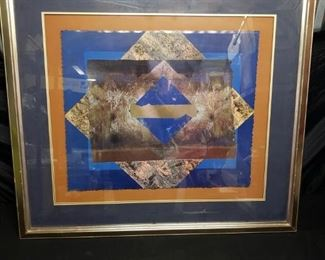 Blue and gold geometric shape with gold frame. https://ctbids.com/#!/description/share/171879