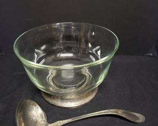 Glass Punch Bowl with Stand and R Wallace Ladle https://ctbids.com/#!/description/share/171907