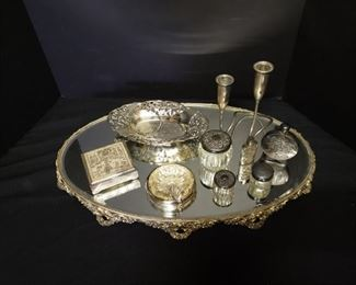 Mirrored Vanity Tray with Assorted Silver Pieces https://ctbids.com/#!/description/share/171939