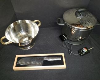"Soup or salad tureen, 7"" japanese santoku knife and electric pot. https://ctbids.com/#!/description/share/171961"