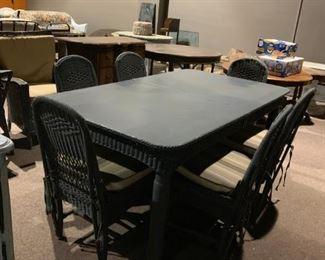 #3Green wicker Dining Table w/6 chairs (old heavy wicker)  40.5x71x29.5 $220.00