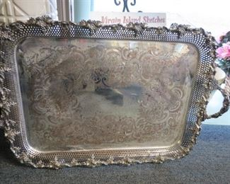 Large silver plate footed lace edge serving tray.