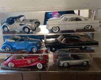 004 Vintage Model Cars with Display Case
