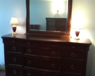 12 Drawer Dresser with Mirror and Two Matching Lamps