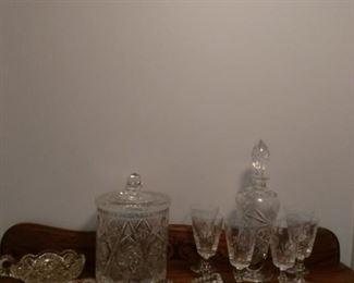 Beautiful Cut Glass Lot, Decanter and Glasses, Lidded Jar, and More