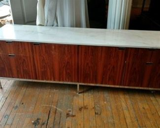 Mid-Century Modern, marble top Knoll credenza.