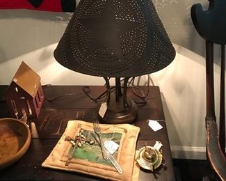 Punched tin lamp ,primitive table with dough bowl trough