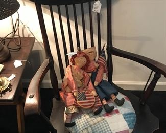 Old rocker with reworked quilt seat ....raggedy Ann and any with hanging swing