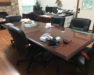 Office conference table, chairs, desks, file cabinets, bookcases