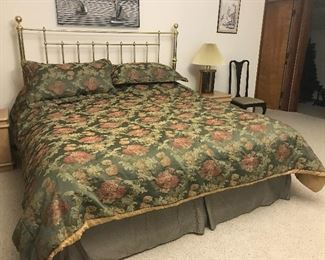 King size Water bed with GE heater.  There is also a brass foot board to match the Brass headboard