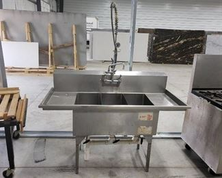 3 compartment sink with spray faucet