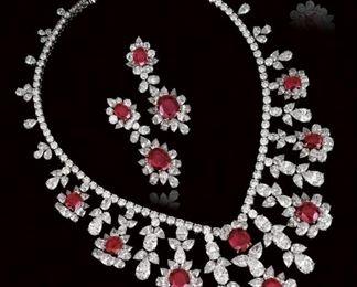 Lot 587 Ruby  Diamond Necklace Set
