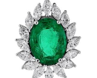 Lot 794 Emerald  Diamond Pendant  GRS
