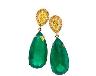 Lot 928 Emerald  Fancy Yellow Diamond Earrings