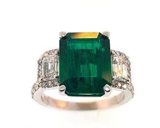 Lot 9791 Emerald  Diamond Ring