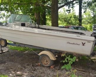 Vintage Thunderbird Speed Boat with Mercury Outboard Motor