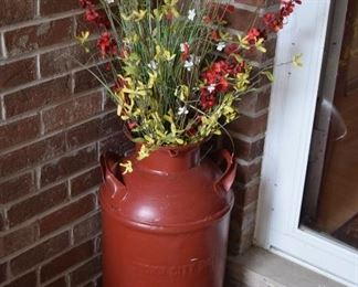Painted Bucket and Artificial Flowers
