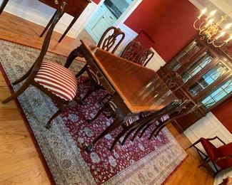 double pedestal banded table  - set 8 chairs