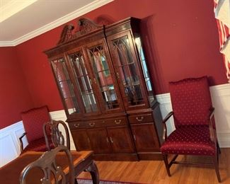 china cabinet - top light - pair upholstered chairs