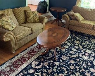 matching love seat and sofa - inlaid coffee table - area rug