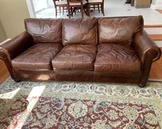 brown leather sofa - restoration hardware