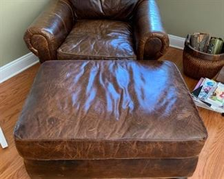 pair brown leather chairs w/ ottoman