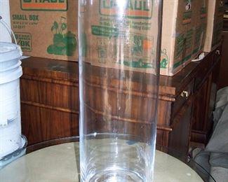 "Sempre Large Glass Hurricane 23"" Tall x 7"" Wide"