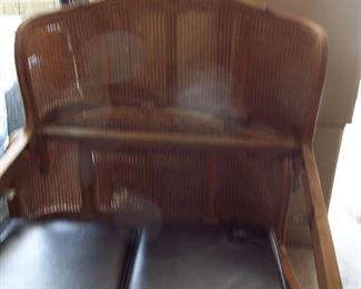 Vintage Caned Bed Footboard