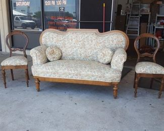 2 parlor chairs  & antique love seat