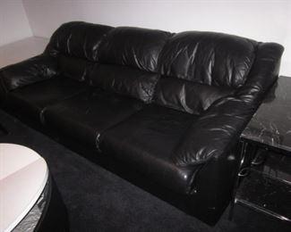 Black Leather Natuzzi Sofa Suite