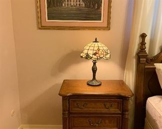 Slag glass lamp, nightstand, framed art