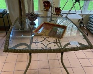 Patio table, wicker and glass