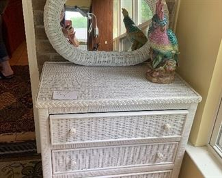 Wicker chest and mirror