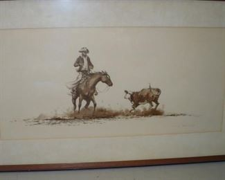 CUTTING HORSE PICTURE SIGNED