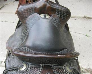 Tooled saddle Basket Weave Pattern