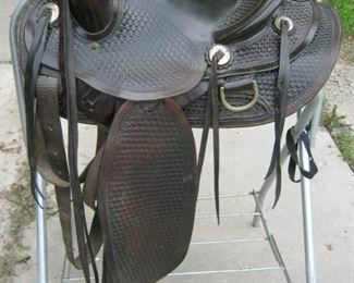 Side view of Basket Weaved Saddle
