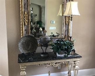 "50"" MARBLE TOP FOYER TABLE, LARGE GILT FRAMED MIRROR 48"" X 60"""