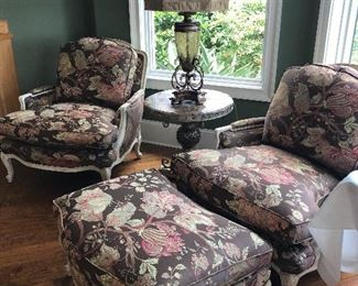 2 SAM MOORE MFG. SIDE CHAIRS & ONE OTTOMAN, CHOCOLATE BROWN W/ FLORAL FABRIC