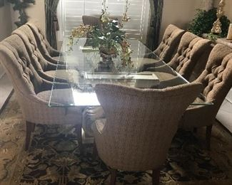 "GLASS TOP TABLE - 52"" X 107"", 8 BERNHARDT BROWN FABRIC CHAIRS W/ TUFTED BACKS"