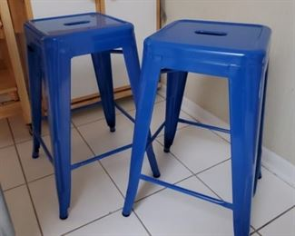 2 Metal Blue Stools