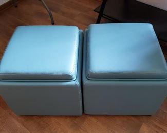 Blue Storage Ottoman