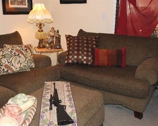 Oversized Chenille Sofa, Loveseat & Large Ottoman (Made in USA!)