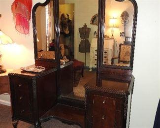 Antique Vanity w/Triple Mirror