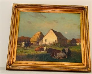 "William Henry Howe Cows Resting at Sunset signed lower left and dated '94 16"" x 20"""