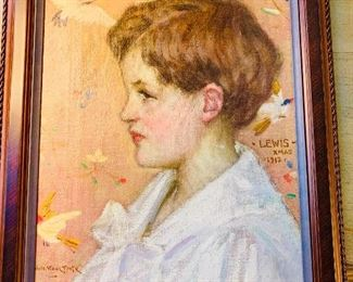 "Will Howe Foote 1887-1965. A Beautifully executed portrait of a family member of the artist dated Lewis  Christmas 1912. 16"" by 12"""