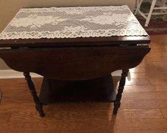 Antique drop-leaf serving table